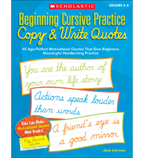 Beginning Cursive Practice: Copy & Write Quotes