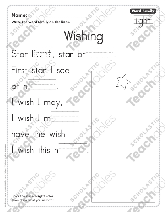 Wishing Word Family Ight Word Family Poetry Page By