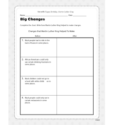 Happy Birthday, Martin Luther King - Activity Sheet
