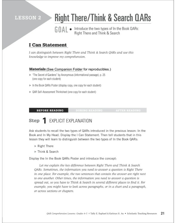 QAR Comprehension Lessons Grades 4 5 by Kathryn H AuTaffy E – Qar Worksheet