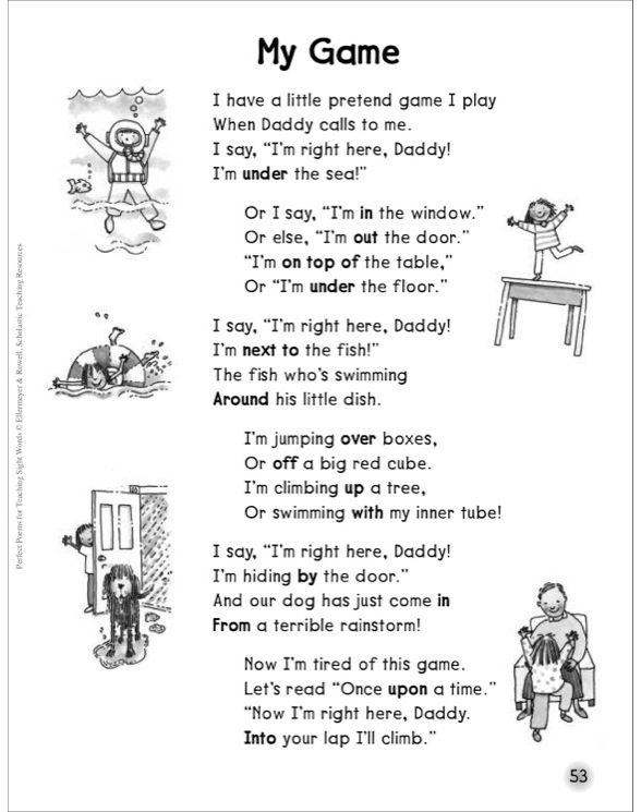 My Game Prepositions Sight Words Poem