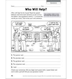 Who Will Help? (Quotations): Grammar Practice Page
