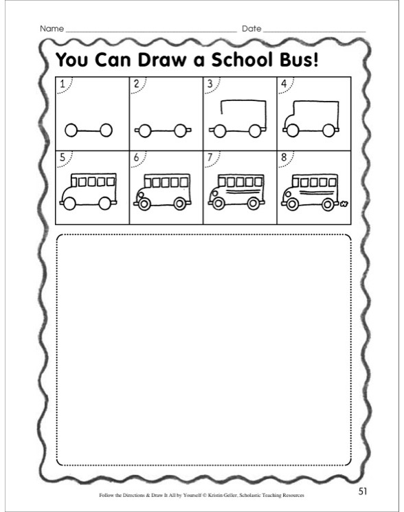 draw a school bus in 8 steps follow the directions