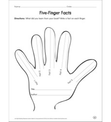 Five-Finger Facts: Reading Response Graphic Organizer