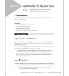 Author & Me/On My Own QARs (Narrative Passage): QAR Comprehension Lessons (Grades 6–8)