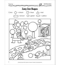 Zany Zoo Shapes (Identifying Shapes): Scholastic Success With Numbers & Concepts (Grade PreK)