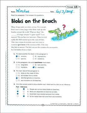 Blobs on the Beach: Grade 4 Close Reading Passage
