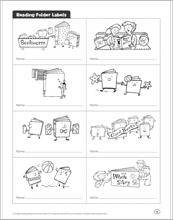 Just-Right Reading Response Activity Sheets for Young ...