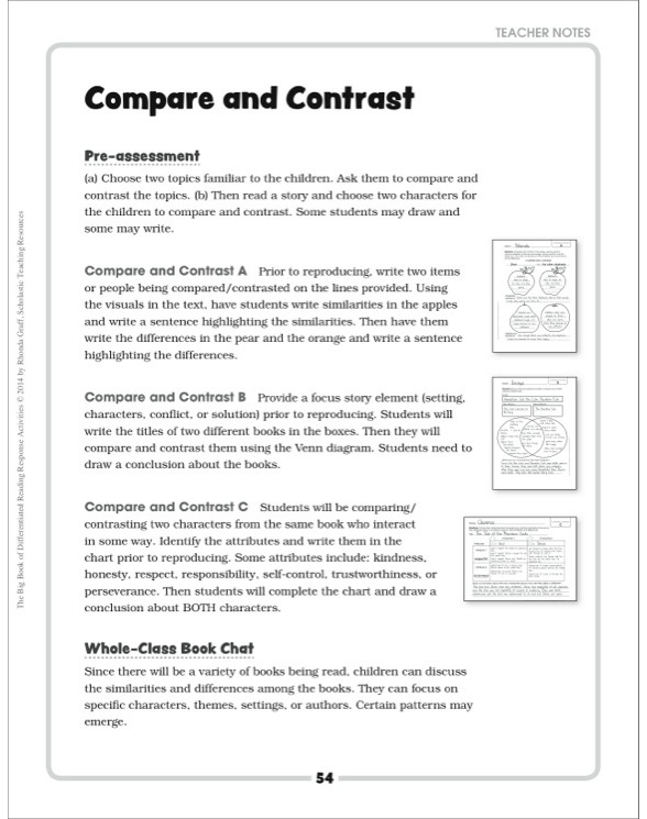 Compare And Contrast Differentiated Reading Response Activity By