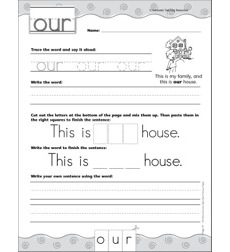 Interactive Practice Page (Sight Word: Our): Write-and-Learn Practice Page
