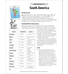 South America (Reading a Political Map): Map Skills - Grades 4-8