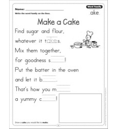 Make a Cake (Word Family -ake): Word Family Poetry Page