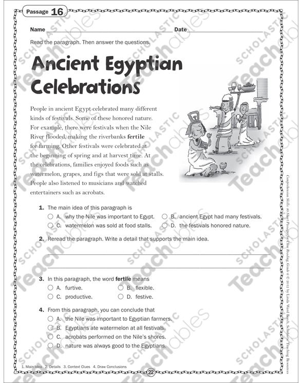 The Ancient Egyptian Celebrations: Grade 6 Close Reading Passage by