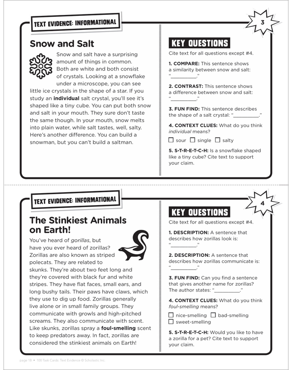 100 Task Cards: Text Evidence by