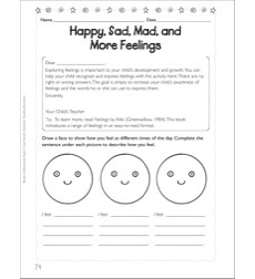 Happy, Sad, Mad, and More Feelings: Social Studies Homework Page