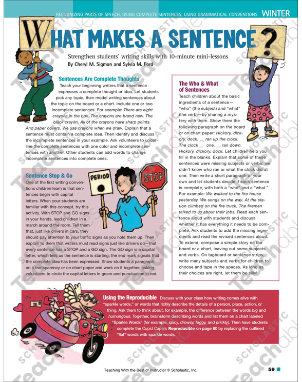 Cupid capers what makes a sentence teaching with the best of cupid capers what makes a sentence teaching with the best of instructor ccuart Images