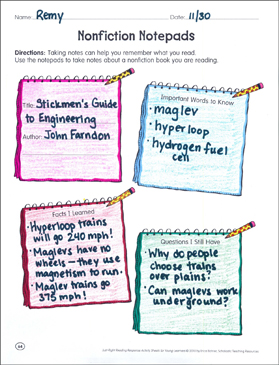 Nonfiction Notepads: Reading Response Graphic Organizer