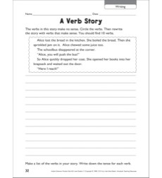 A Verb Story (Writing): Grammar Practice Page
