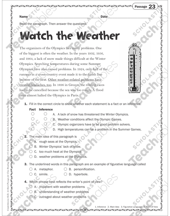 Main idea free worksheets for 4th graders