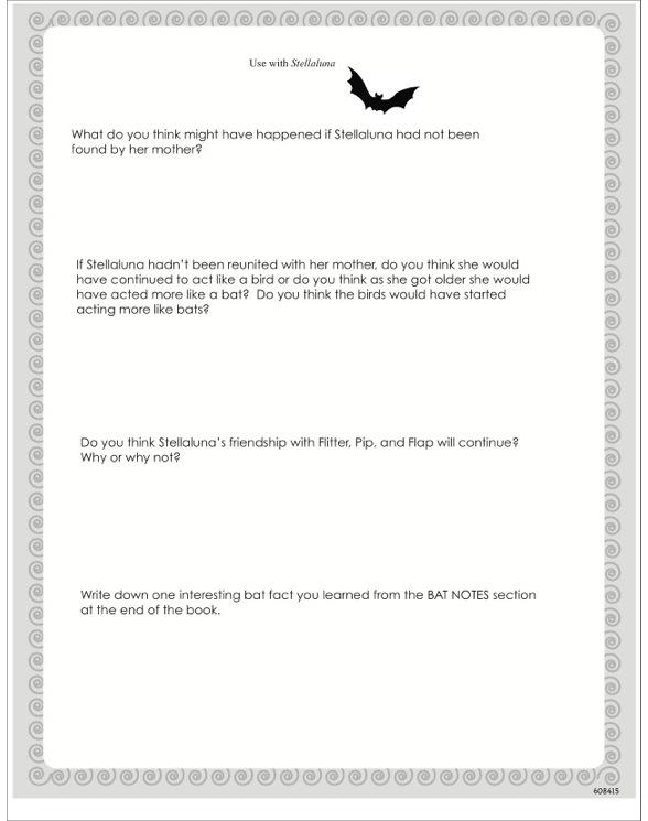 Stellaluna by Janell Cannon – Stellaluna Worksheets