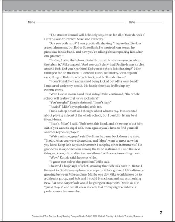 Standardized Test Practice: Long Reading Passages: Grades 7-8 by