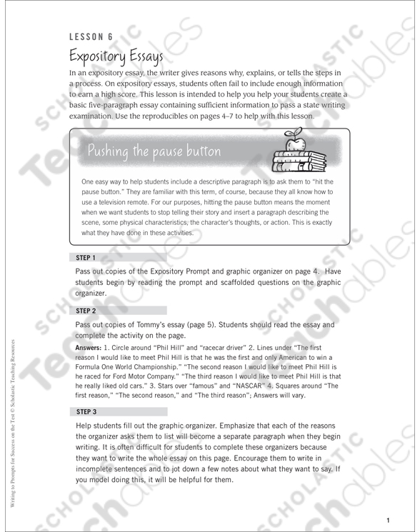 Expository Essays Writing To Prompts For Success On The Test By Expository Essays Writing To Prompts For Success On The Test English Essay Introduction Example also Annotated Bibliography Websites  High School Personal Statement Sample Essays