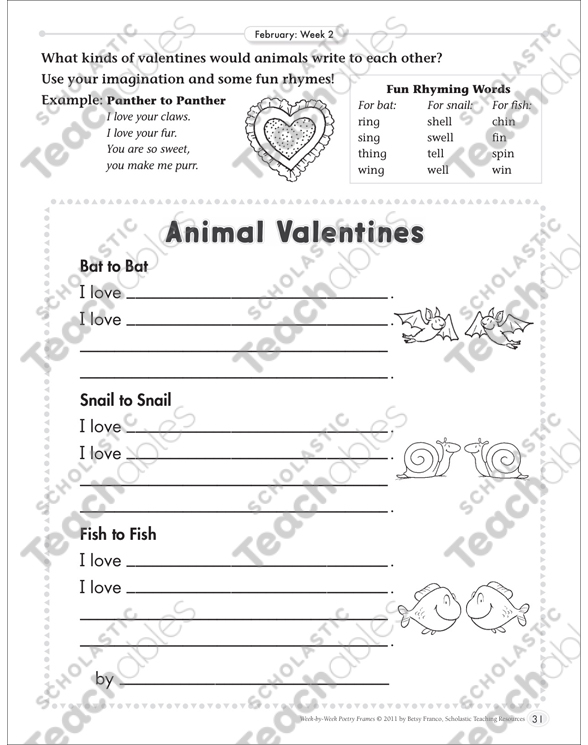 Animal Valentines (Rhyming): February Poetry Frame by