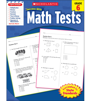 Scholastic Success With Math Tests: Grade 6