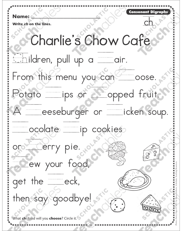 Charlies Chow Cafe Consonant Digraphs ch Phonics Poetry Page by – Consonant Digraphs Worksheets