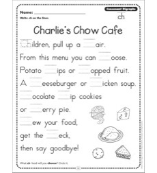 Charlie\'s Chow Cafe (Consonant Digraphs - ch): Phonics Poetry Page by