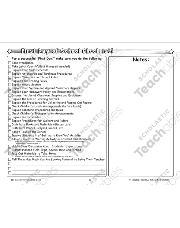 First Day of School Checklist by