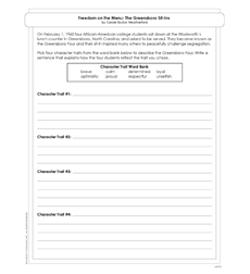 Freedom on the Menu - Activity Sheet