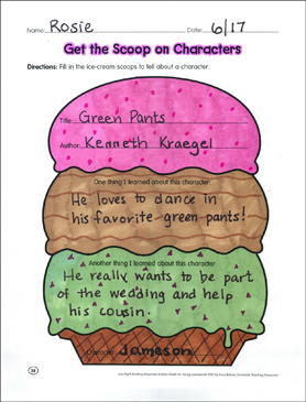 Get the Scoop on Characters: Reading Response Graphic Organizer