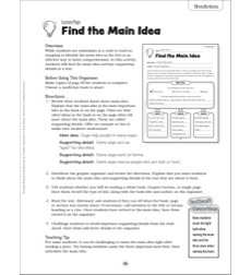 Find the Main Idea: Reading Response Bookmark & Graphic Organizer