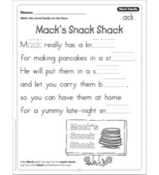 Mack's Snack Shack (Word Family -ack): Word Family Poetry Page
