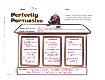 Writing Graphic Organizer: Perfectly Persuasive