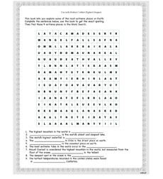 Hottest Coldest Highest Deepest - Activity Sheet