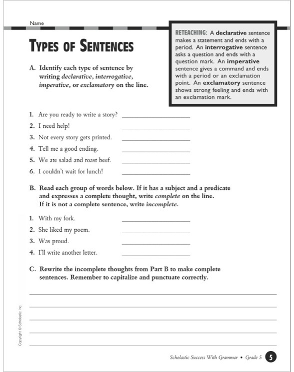 Scholastic Success With Grammar Grade 5 By. See Inside. Worksheet. Spanish Interrogatives Worksheet At Mspartners.co