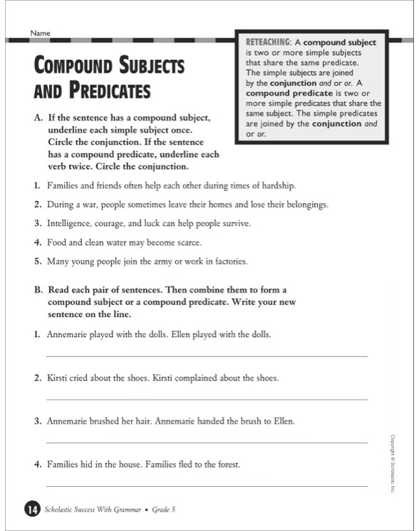 Scholastic Success With Grammar Grade 5 by – Subject and Predicate Worksheets 5th Grade