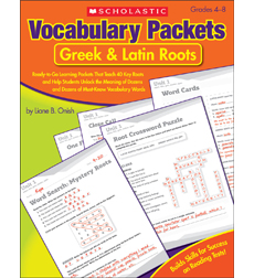 Vocabulary Packets Greek Latin Roots By Liane B Onish - Us map crosswords scholastic professional books answers