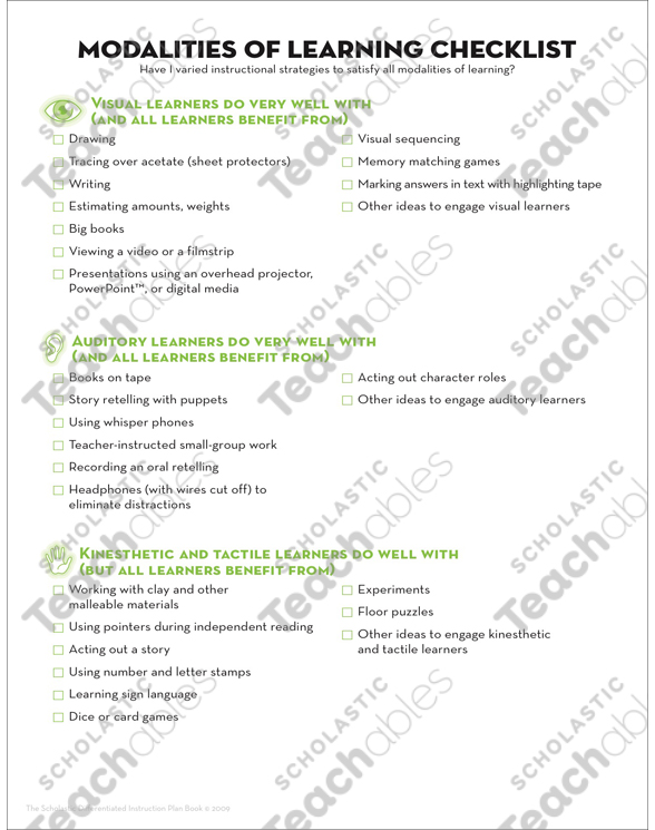 Differentiated Instruction Teacher Planning Page By
