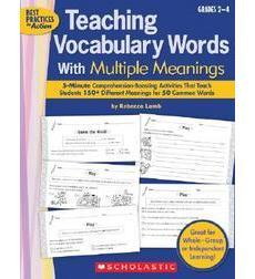 Teaching Vocabulary Words With Multiple Meanings Grades 2-4