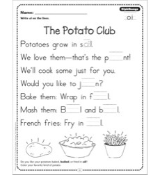 The Potato Club (Dipthongs - oi): Phonics Poetry Page