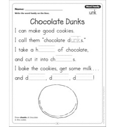 Chocolate Dunks (Word Family -unk): Word Family Poetry Page