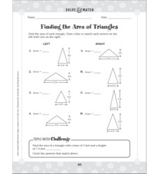Geometry/Finding the Area of Triangles: Solve & Match Math (Grades 4-6 Practice Page)
