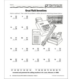 Great Math Inventions (Adding/Subtracting 2-Digit Numbers With Regrouping)(Grade 3)