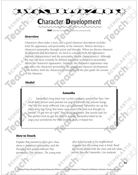 Character Development Narrative Writing Leveled Graphic