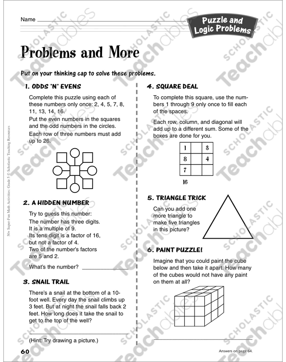 Problems and More (grade 5): Puzzle and Logic Problems Activity by