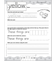 Interactive Practice Page (Sight Word: Yellow): Write-and-Learn Practice Page