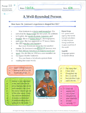 A Well-Rounded Person: Text & Questions